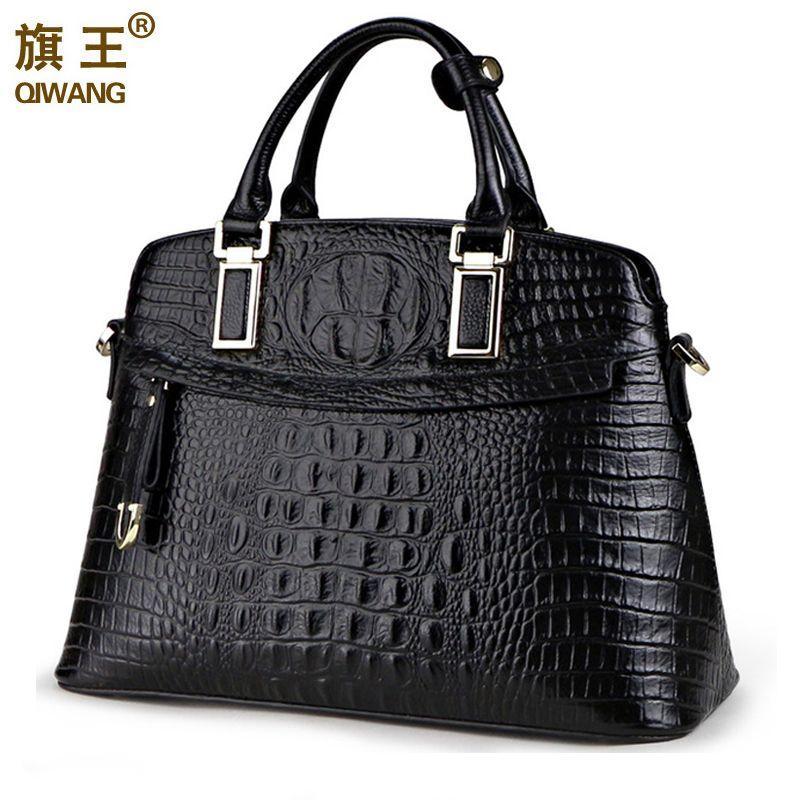 Qiwang Crocodile Women Bag Big Luxury Elegant Top Handle Bags Brand Women <font><b>Designer</b></font> Handbags 100% Genuine Leather Female Bag