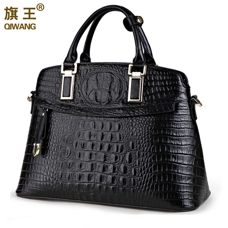 Qiwang Crocodile Women Bag Big Luxury Elegant Top Handle Bags Brand Women Designer Handbags 100% Genuine Leather Female Bag