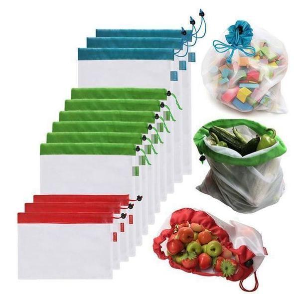 12 pcs Réutilisable Mesh Produire Des Sacs Shopping Sacs Lavable Eco Friendly Sacs pour L'épicerie Fruits Légumes Jouets