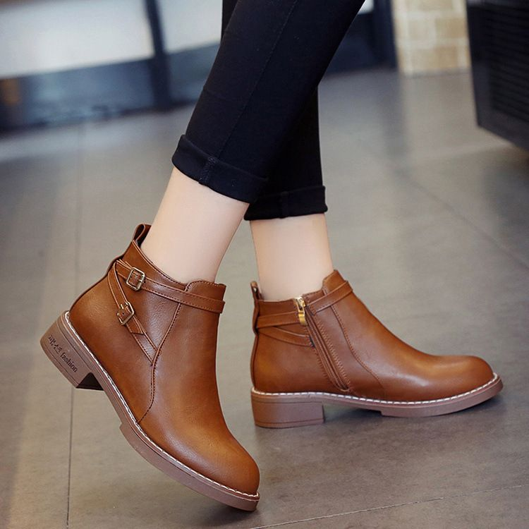 New Fashion European Style Black Ankle Boots Flats Round Toe Back Zip Martin Boots PU Leather Woman Shoes With