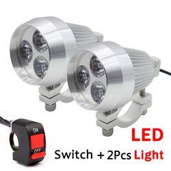 2 PCS Aluminium DIPIMPIN Sepeda Motor Lampu Daylight Spot Light HeadLamp Moto Mengemudi Spot Fog Kepala Lampu dengan Saklar