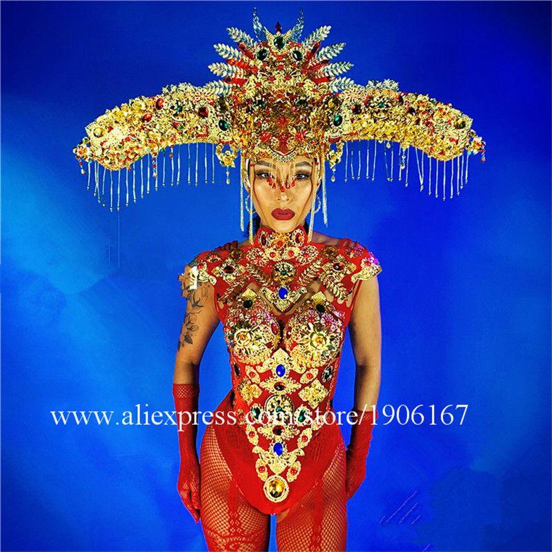 Neue Jahr Chinesische Rote Stil headwear dj sänger leistung body prom overall kleidung party kleid dance kostüme ds sexy anzug