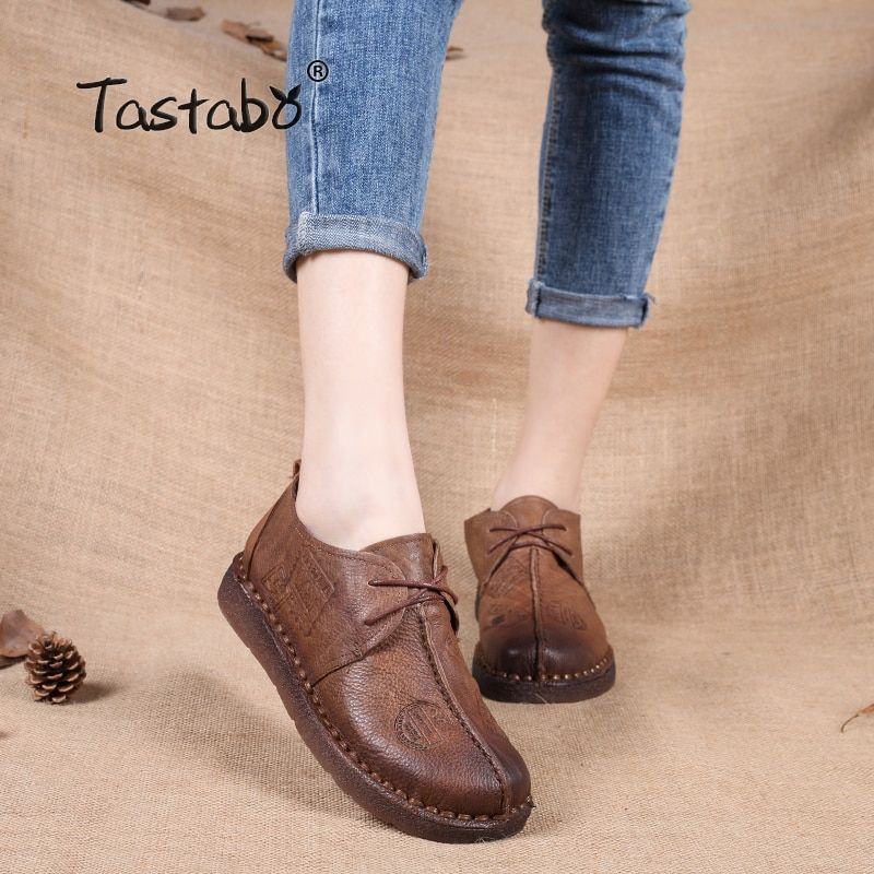 Tastabo Genuine Leather Flat Shoe Pregnant Women Shoe Mother <font><b>Driving</b></font> Shoe Female Moccasins Women Flats Hand-Sewing Shoes