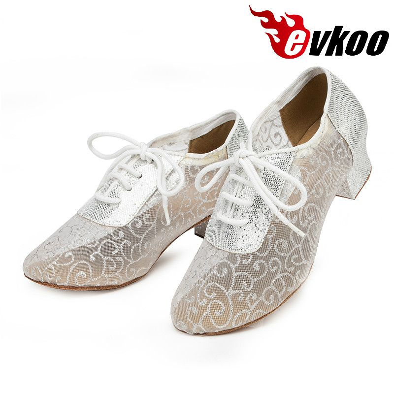 Evkoodance Size US 4-12 Mesh With Glitter Women Dance Shoes 4cm Low Heel Professional Ballroom Latin Dance Shoes Evkoo-445