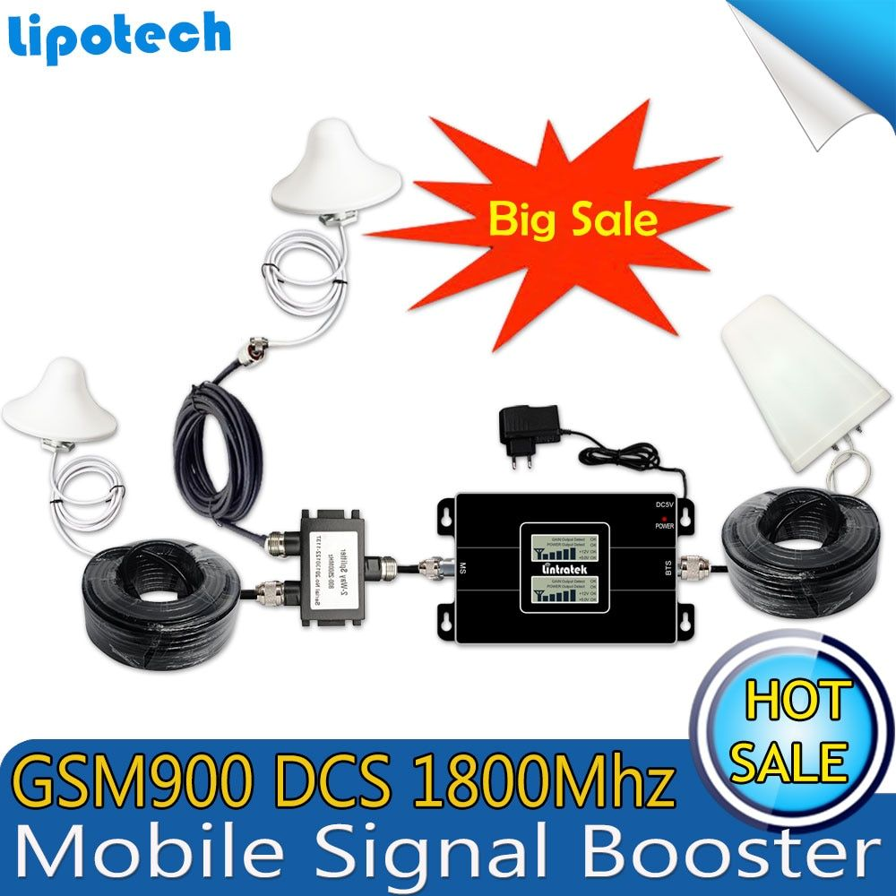Diy Kits GSM 900 4G LTE 1800 (FDD Band 3) Dual Band Repeater 70dB Gain GSM 900mhz DCS 1800mhz Cellular Mobile Signal Booster