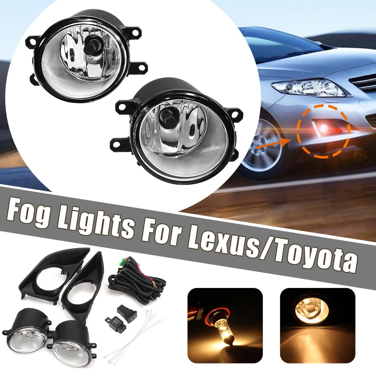 2Pcs H11 Car Front Bumper Left/Right Fog Light Lamp+Black Grille Covers Switch H11 Bulbs For Toyota Corolla 2008-2010