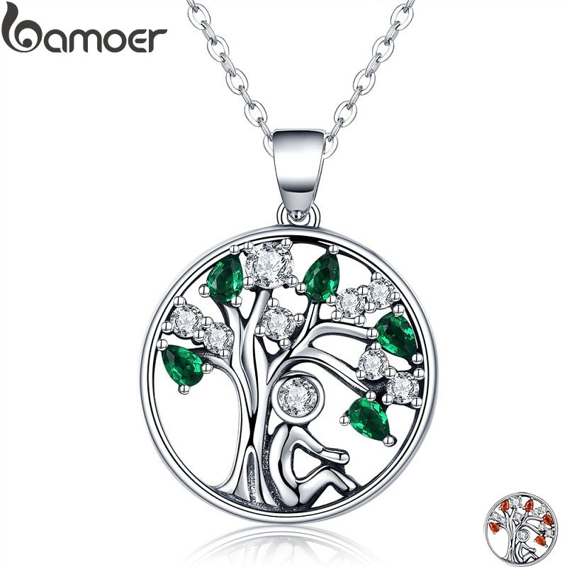 BAMOER Popular 925 Sterling Silver Rely Tree of Life Pendant Necklaces Clear <font><b>Green</b></font> CZ Women Fashion Jewelry Brincos Gift SCN094