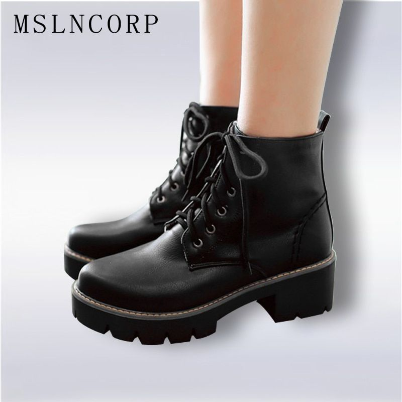 Plus Size 34-43 Autumn Winter warm Fashion Women's Lace-Up Women Snow Boots Platform Black Ankle boots Casual Martin Boots Shoes