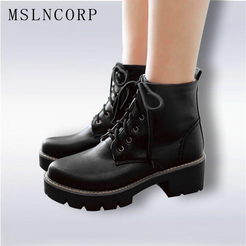 Plus Size 34-43 Autumn Winter warm Fashion Women's Lace-Up Women Snow Boots Platform Black Ankle boots Casual Martin Boots Shoes