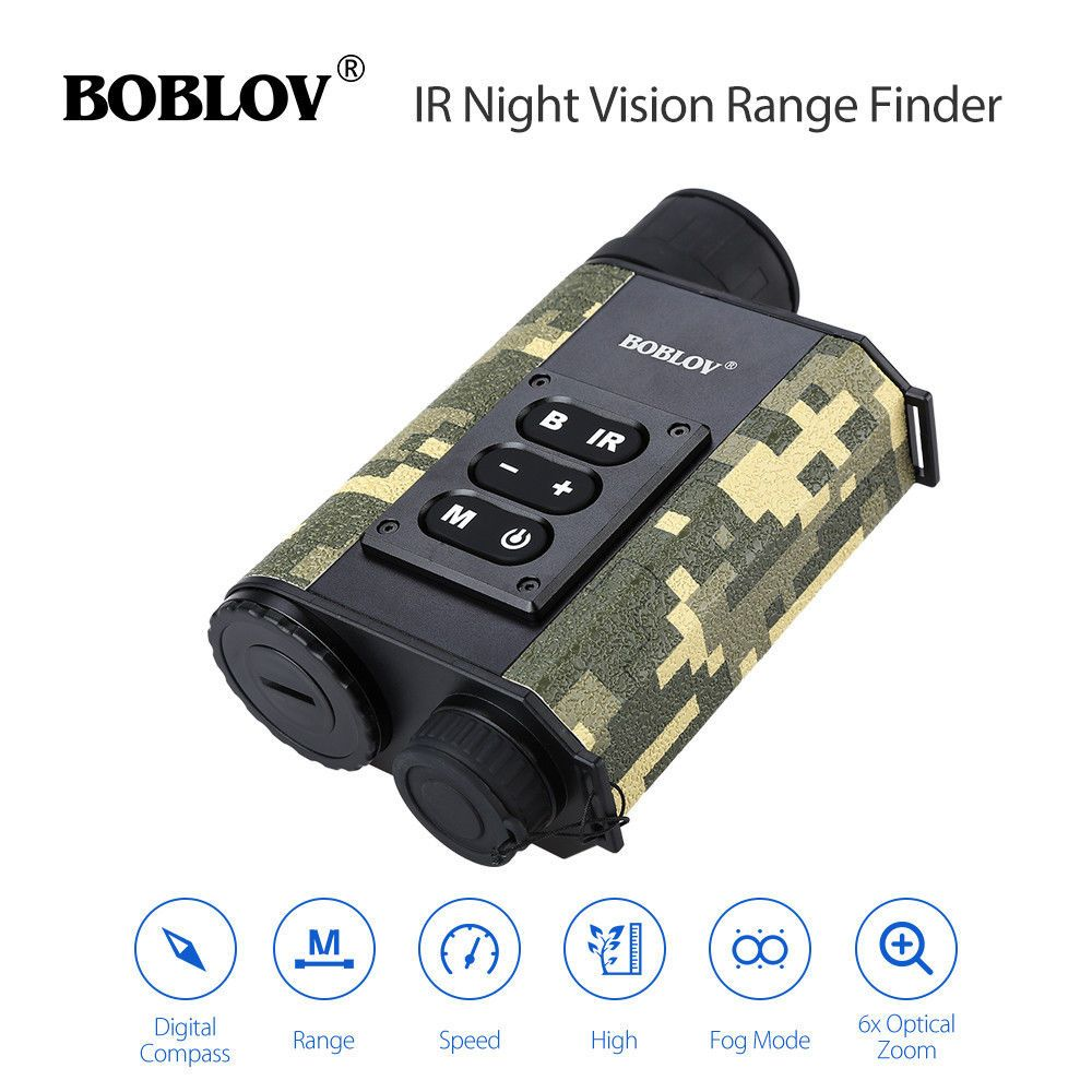 BOBLOV LRNV009 6X32 500M Ranging Finder IR Night Vision Multifuctional Monocular Telescope Compass Camouflage Hunting Outdoor