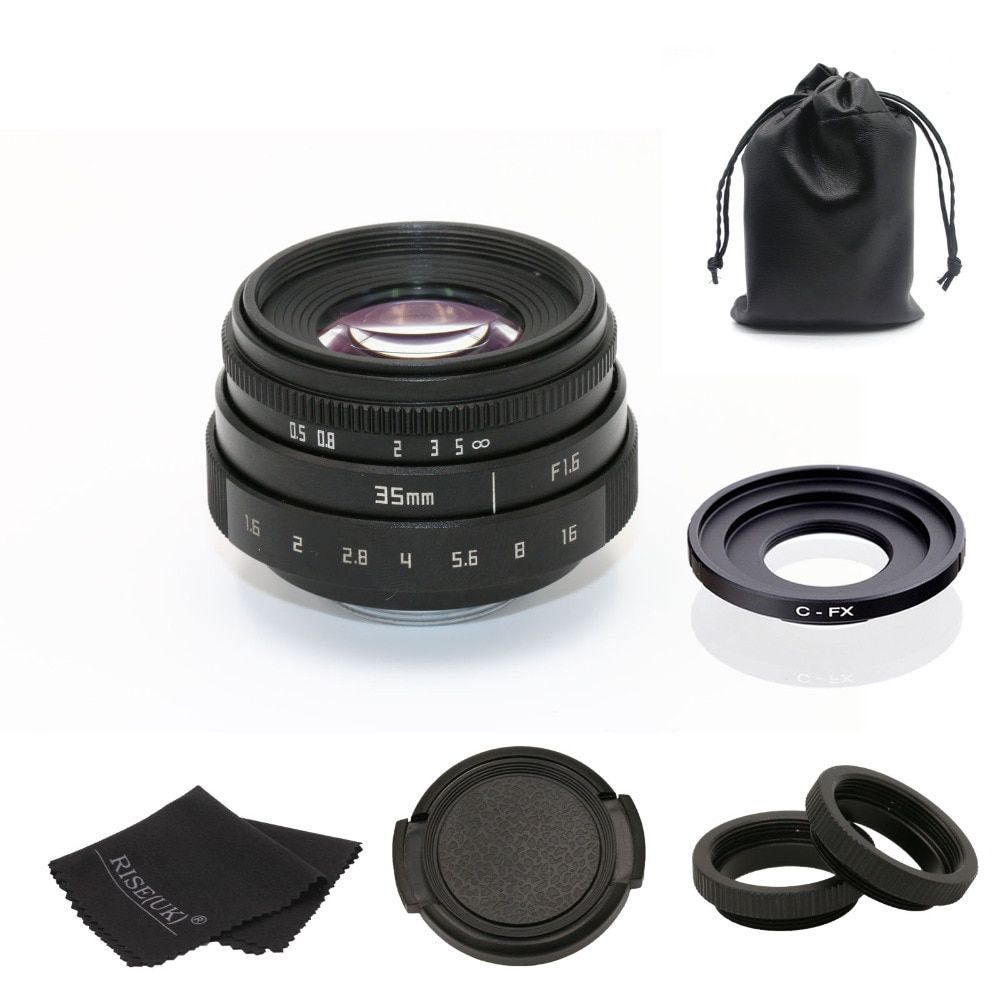 fujian 35mm f1.6 C mount camera CCTV Lens II +C mount adapter ring+Macro for Fuji Fujifilm X-Pro1 (C-FX) free shipping