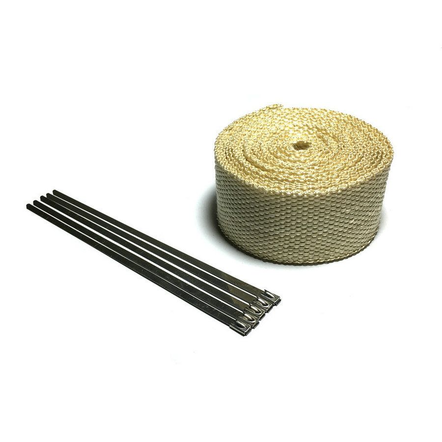 5 M Beige Color Thermal Exhaust Tape Exhaust Pipe Header Heat Resistant Wrap for Motorcycle Exhaust System