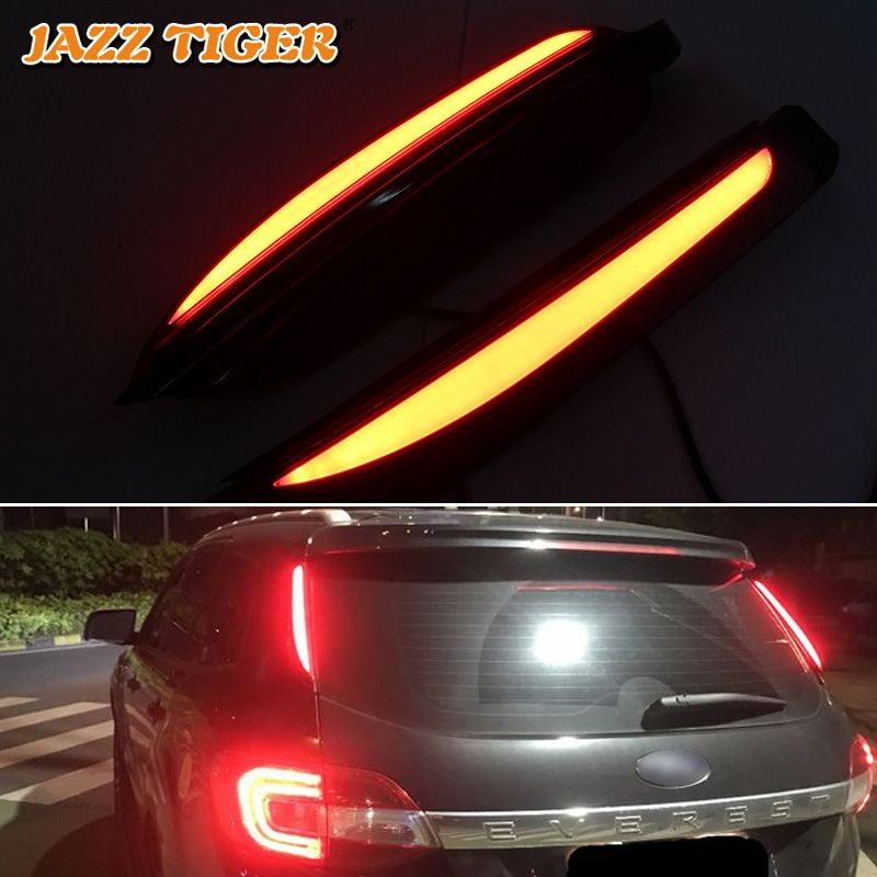 JAZZ TIGER Multi-functions Car LED Rear Fog Lamp Brake Light Pillar Light Auto Bulb Decoration Lamp For Ford Everest 2016 - 2018
