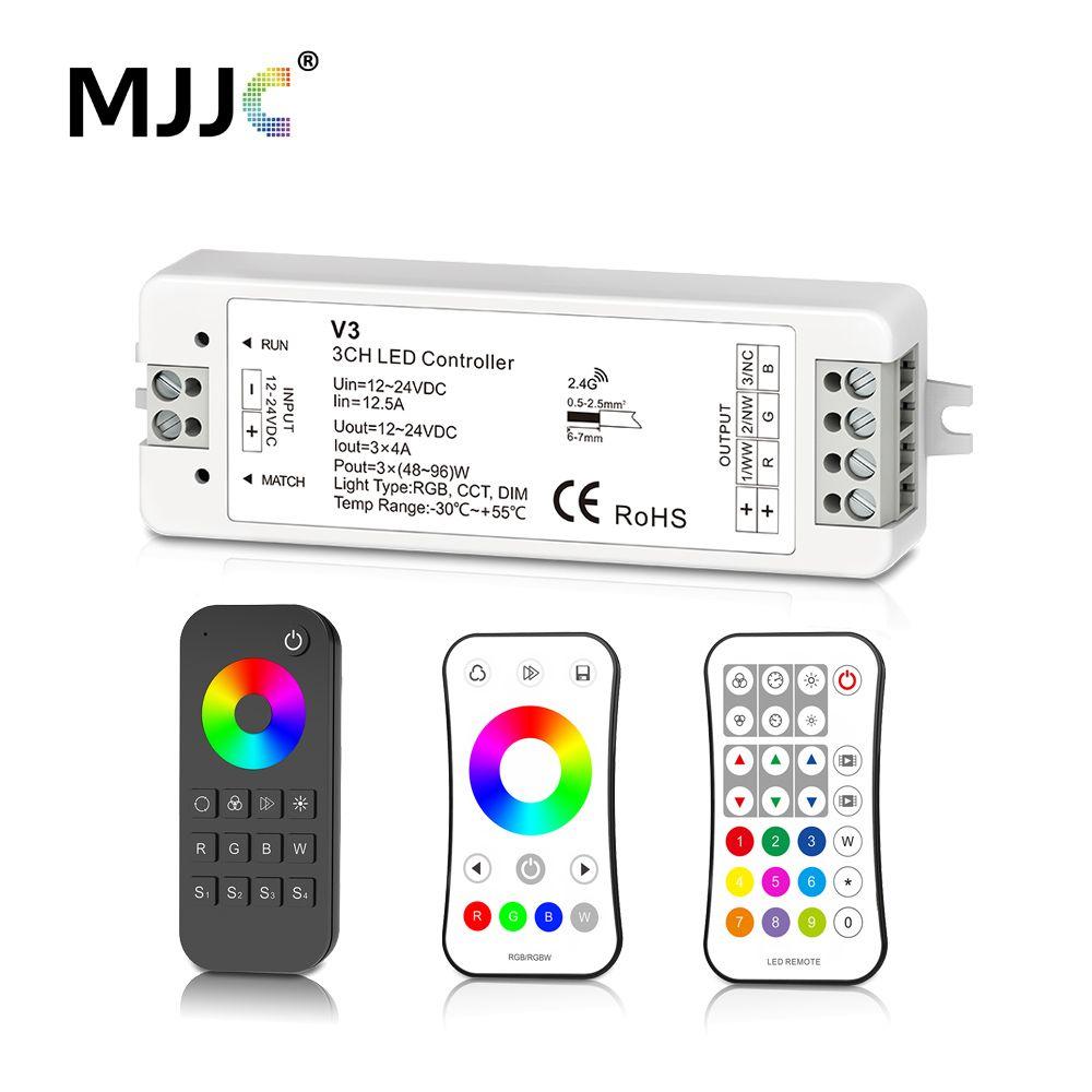 MJJC RVB RGBW LED Bande Contrôleur RF 12 v 24 v 2.4G Sans Fil RGBW Télécommande 12 volts 5 ans de Garantie