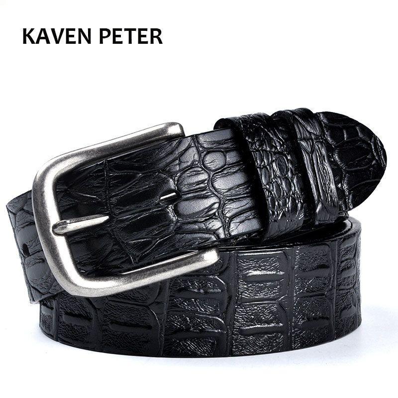 Ceinture en peau de vache pour hommes motif Crocodile ceintures de luxe pour hommes de haute qualité 100% en cuir véritable antique boucle en métal argenté