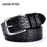 Cinturón de piel de vaca patrón de cocodrilo cinturones de diseñador de lujo para hombre de alta calidad 100% cuero genuino antigua hebilla de Metal plateado