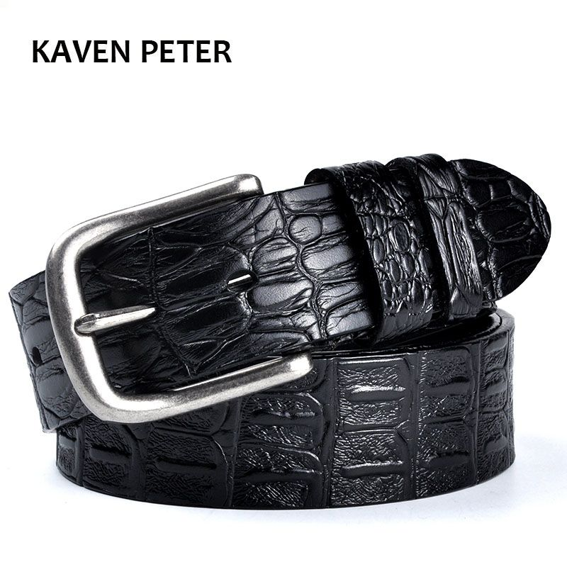 Men's Cowskin Belt Crocodile <font><b>Pattern</b></font> Luxury Designer Belts Men High Quality 100% Genuine Leather Ancient Silver Metal Buckle