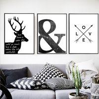 Abstracto minimalista símbolo de pintura de la lona negro blanco escandinavos de la pared, pared arte cartel impresión habitación decoración para el hogar