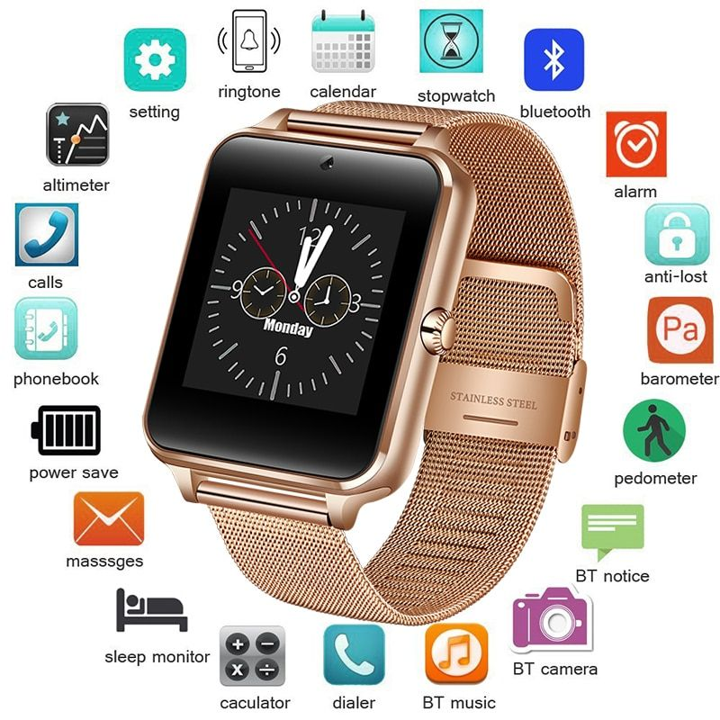 2018 New Stainless Steel Bluetooth Smart Watch Women Men Sport Waterproof SmartWatch LED Color Touch Screen Watch Support SIM TF