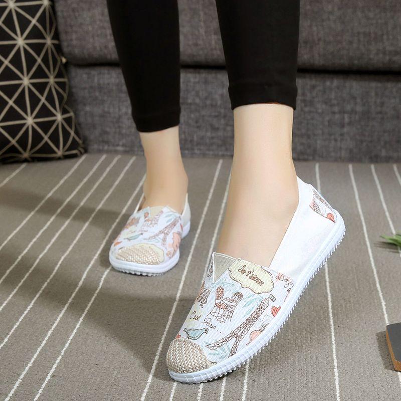 Zapatos de algodón hecho a todo-fósforo de la decoración del bloque del color zapatos ocasionales planos bajos beijing zapatos de lona del pedal