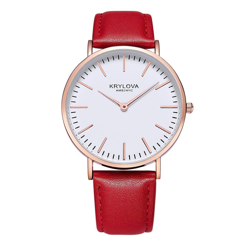 KRYLOVA Style En Cuir Quartz Femmes Montre Top Marque Hommes Montres De Mode Casual Sport Montre-Bracelet Vente Chaude Lovers Relojes
