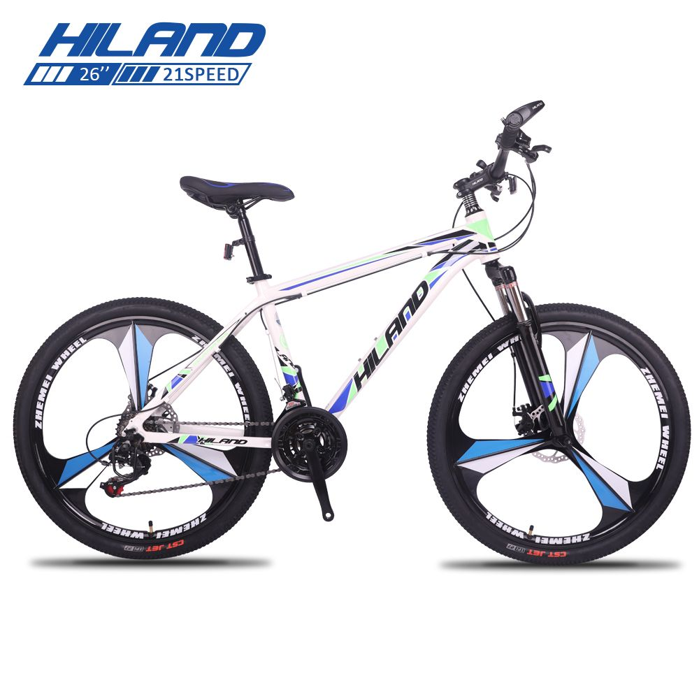 HILAND 26 Inch Bicycle 21 Speed Gears Mountain Bike Suspension Bicycle with Shimano TZ50 Derailleur andDisc Breaks