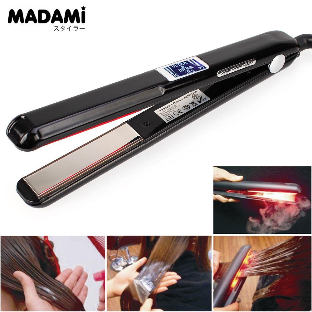 Madami LCD Display Ultrasonic Infrared Hair Care Iron Keratin Argan Oil Recover Hair Damaged Smoothly Hair Treatment Iron
