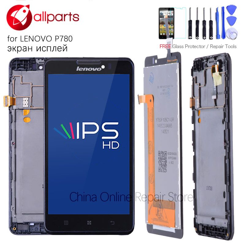 Original 5.0 Inch Display For LENOVO P780 LCD Touch Screen Digitizer with Frame Assembly For LENOVO P780 LCD Display Replace