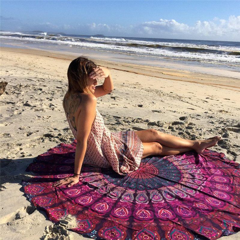 2017 haute qualité ronde Hippie gland tapisserie serviette de plage jeter Mandala serviette Yoga tapis pique-nique tissu nappe bohème