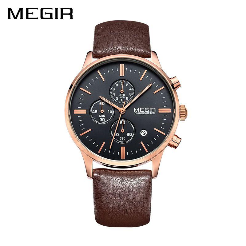 MEGIR Ursprüngliche Uhr Männer Top-marke Luxus Herrenuhr Leder Uhr Männer Uhren Relogio Masculino Horloges Mannen Erkek Saat