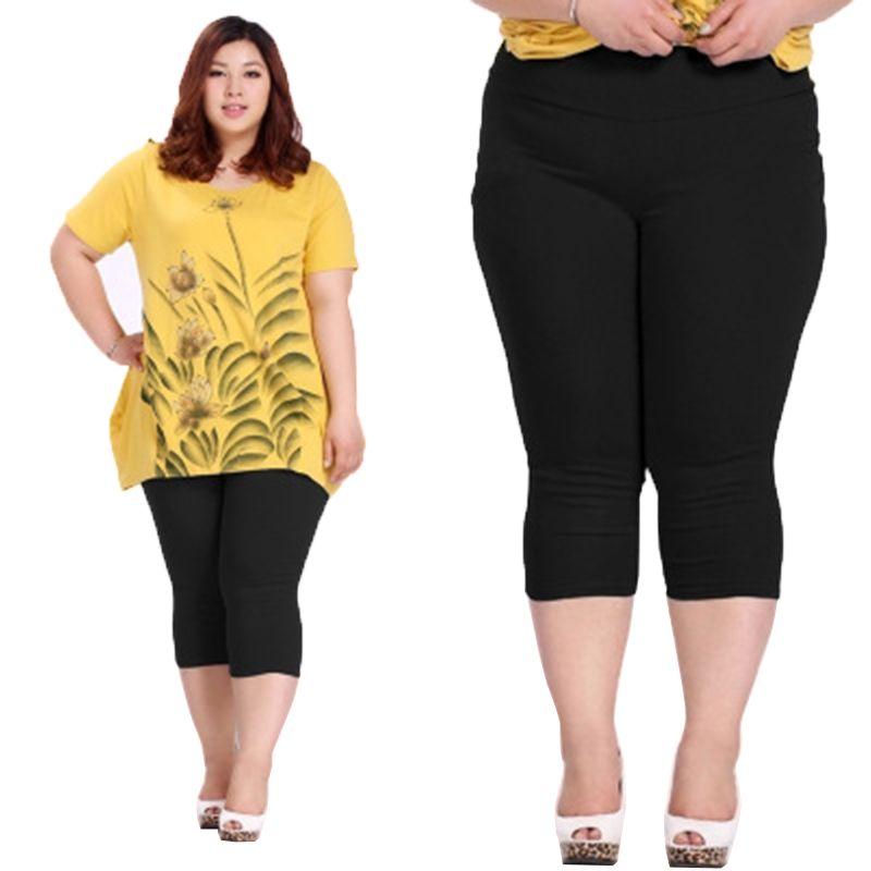 Bonne Qualité Extra Large Taille Femmes Capris Pantalon Super Stretch été De Couleur De Sucrerie Plus La Taille Femelle Élastique Pantalon Veau longueur 6XL