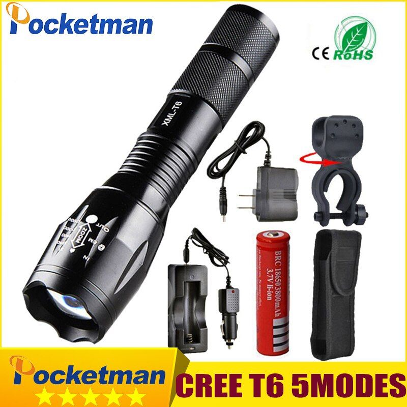 Pocketman 9000 Lumens High Power 5 Mode CREE XM-L T6 L2 LED Flashlight Zoomable rechargeable Focus Torch by 1*18650 or 3*AAA z92