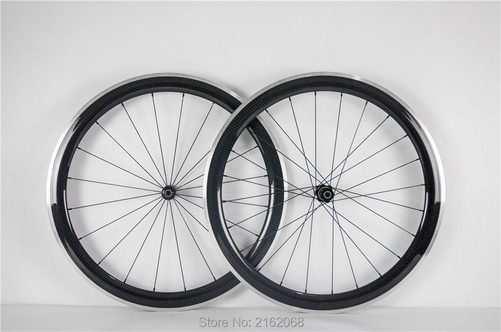 Newest light 700C 50mm racing Road bike 3K twill carbon fibre clincher rims bicycle wheelset with alloy brake surface Free ship