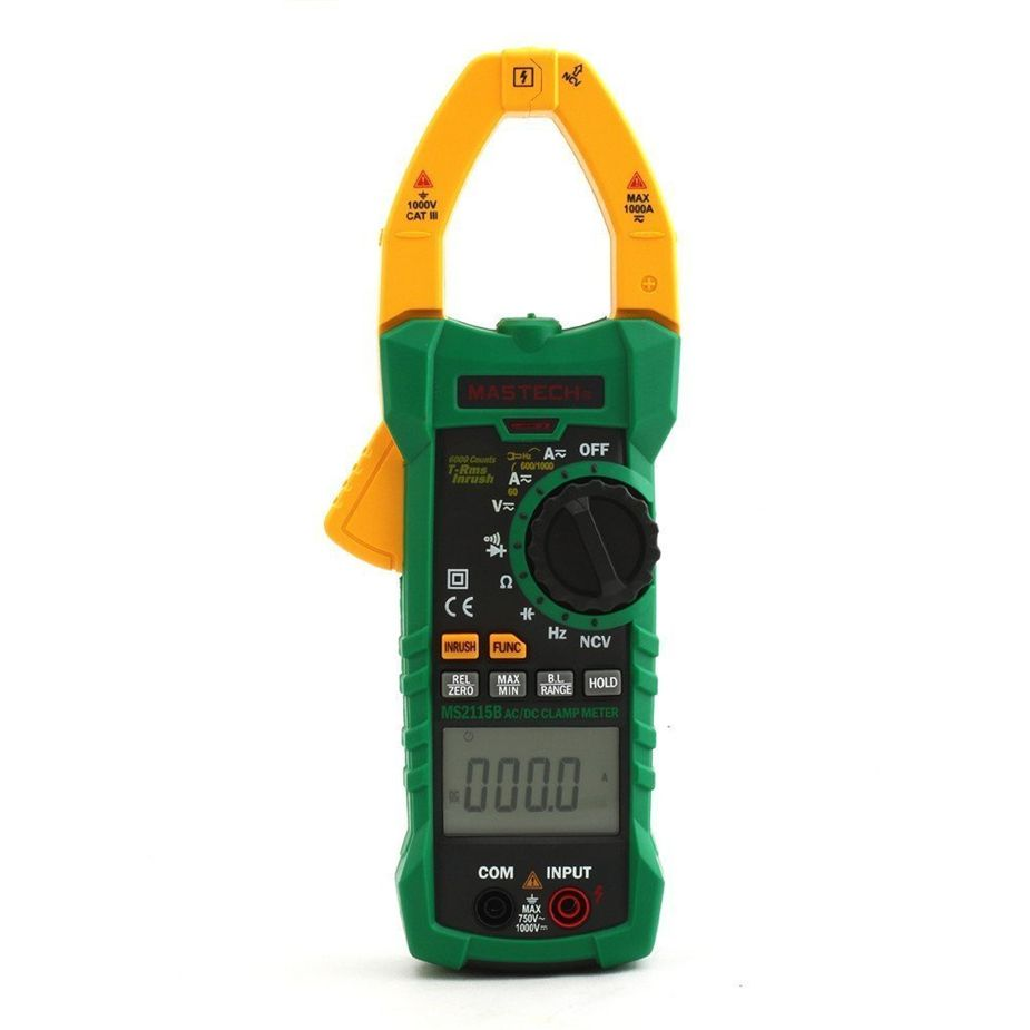 MASTECH MS2115B Digital AC/DC Clamp Meter with 6000 Counts NCV True RMS AC/DC Voltage Current Tester Detector with USB