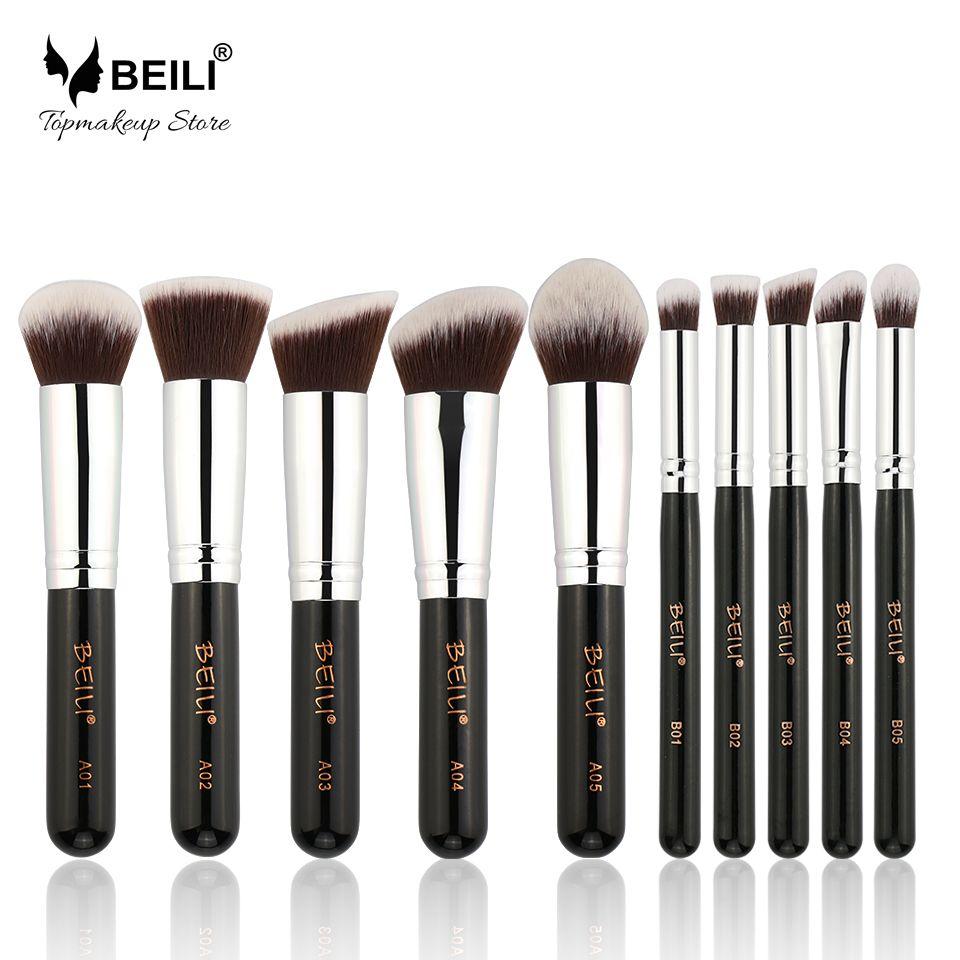 BEILI 10 Pcs Kabuki visage teint Poudre Blush Contour ombre à paupières Synthétique Végétalien Maquillage Pinceaux