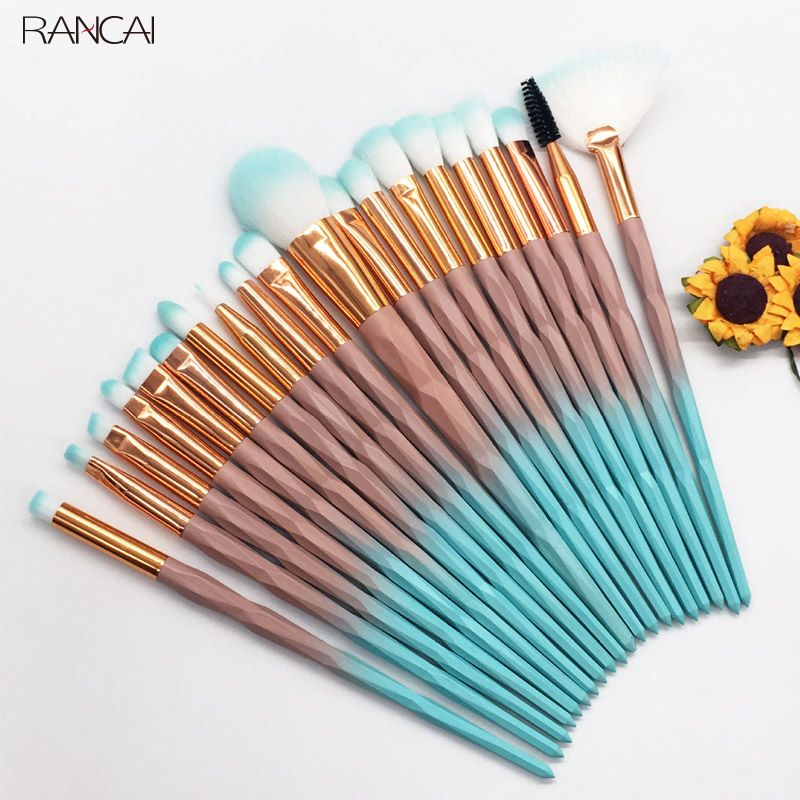 RANCAI 20pcs Diomand Makeup Brushes Set Powder Eye Shadow Foundation Blend Blush Lip Cosmetic Beauty Soft Make Up Brush Tools