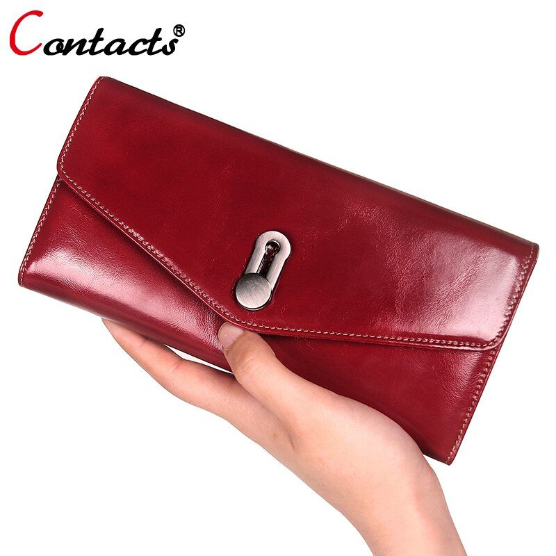 CONTACT'S women wallet Genuine Leather Wallet Women Luxury brand Coin card holder female clutch bag Women Wallet And Purse red
