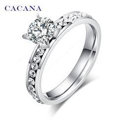 Cacana anillos de acero inoxidable de titanio para las mujeres círculo CZ moda joyería al por mayor no. R174