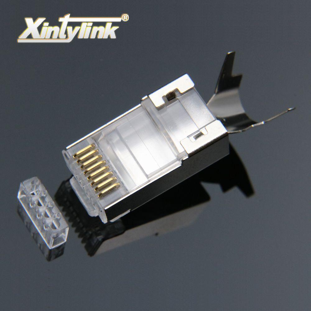 Xintylink rj45 connecteur rj 45 ethernet câble cat7 cat6a 8P8C stp blindé de réseau du chat 7 bornes 1.3mm 10 pièces 50 pcs 100 pièces