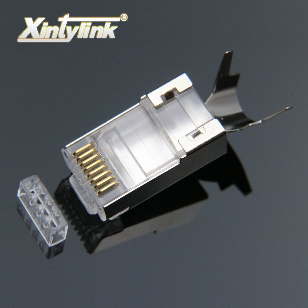 xintylink rj45 connector rj 45 ethernet cable plug cat7 cat6a 8P8C stp shielded cat 7 network terminals 1.3mm 10pcs 50pcs 100pcs