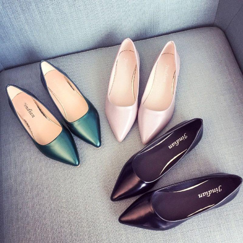 2018 été nouveauté travail OL femmes mode chaussures en cuir bouche peu profonde bout pointu sans lacet appartements chaussures simples grande taille 35-40