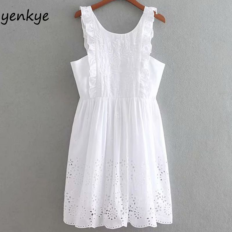 Party Elegant White Summer Dress Women Ruffle Trims Sleeveless O Neck Hollow Out Embroidery Dress Fashion Brand Mini Dress