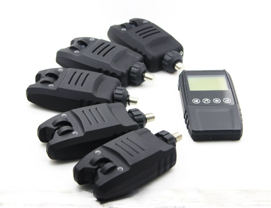 Free Shipping 5*Digital Water-resistant Bite Alarms &1* Touch shock Receiver Wireless Bite Alarm Set  in case For Carp Fishing