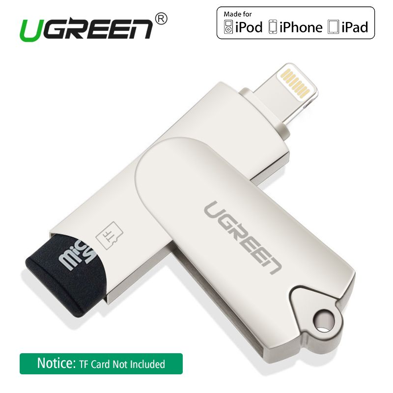 Ugreen Lightning <font><b>Card</b></font> Reader MFi Micro SD TF Smart Memory <font><b>Card</b></font> Adapter for iPhone X/5/6/7/8 Plus iPad 2018 USB OTG <font><b>Card</b></font> Reader
