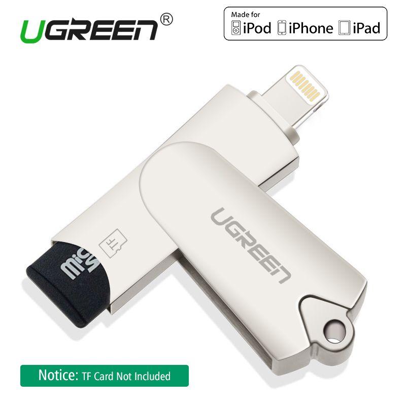 Ugreen MFi Foudre Micro SD/TF OTG Lecteur de Carte USB 2.0 Mémoire Mini Lecteur De Cartes pour iPhone 6/7/8 Plus iPod iPad Lecteur de Carte OTG
