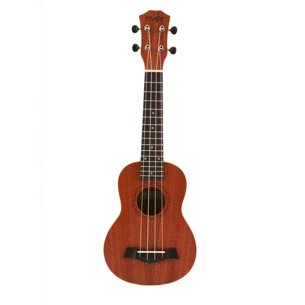 21 Inch Soprano Acoustic Ukulele Guitar 4Strings Ukelele Guitarra Handcraft Wood White Guitarist Mahogany Plug-in Overseas Stock