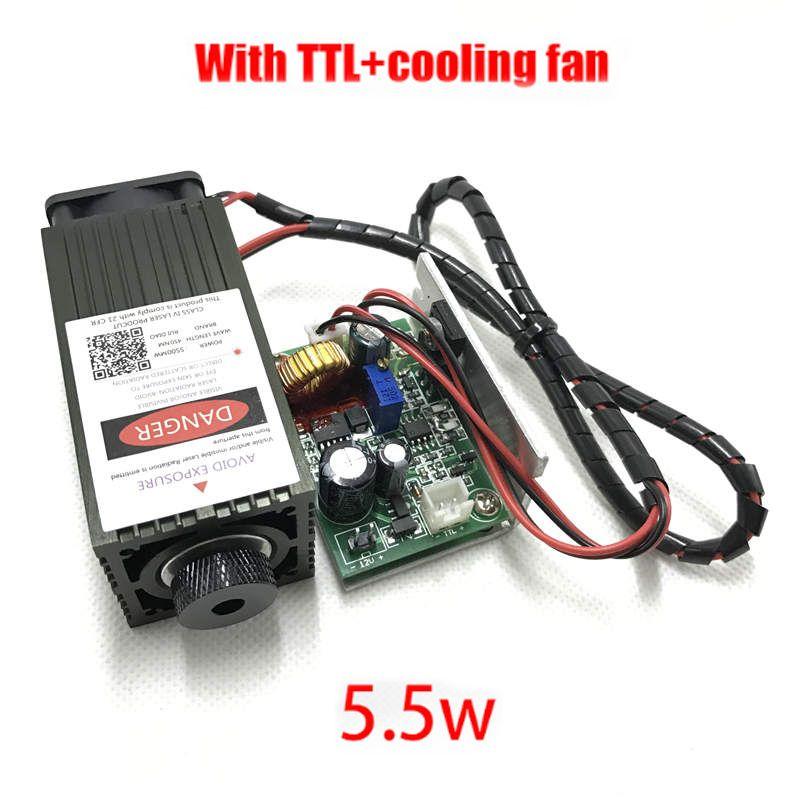 5.5 w haute puissance 450NM en se concentrant bleu laser module laser gravure et la découpe TTL module 5500 mw laser tube + googles