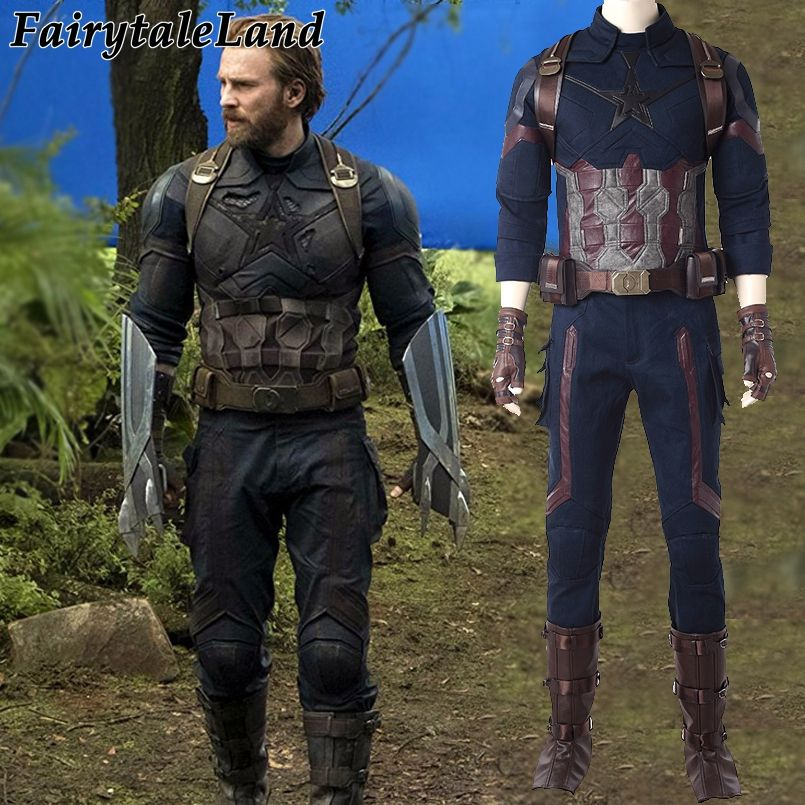 Avengers Infinity War Captain America Cosplay Costume Carnival Halloween costumes Superhero Steve Rogers Captain America Suit