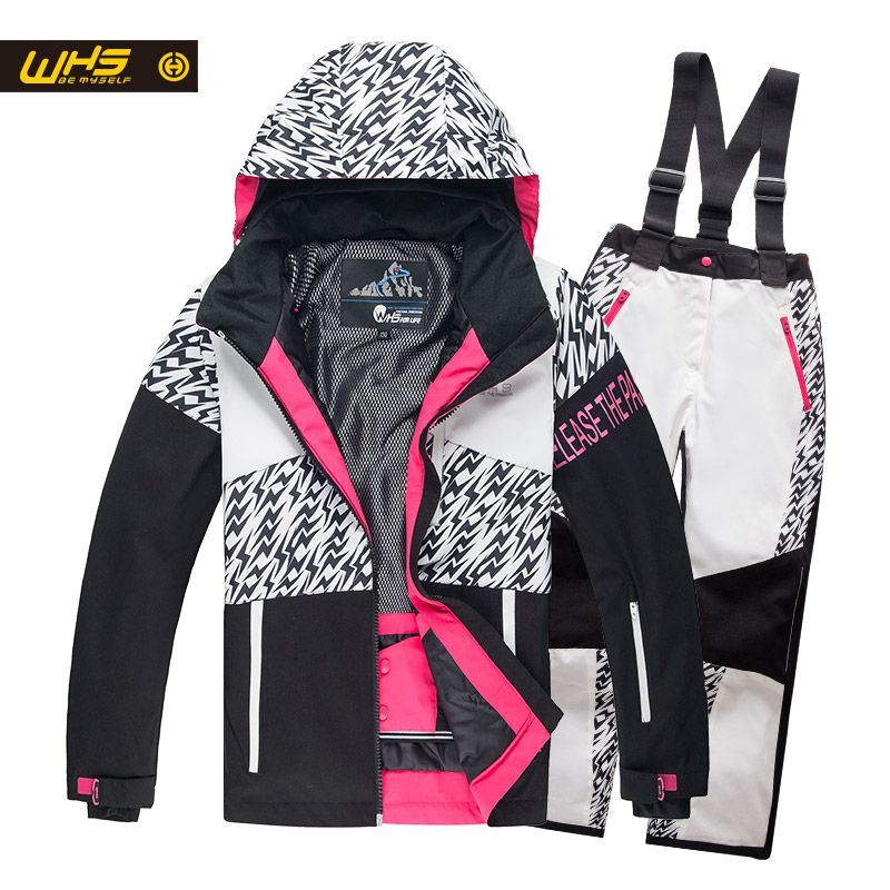 WHS  New girls snow suits kid ski jacket teenage windproof coat girl skiing jacket in Winter 4 to 16 year jacket Black and white