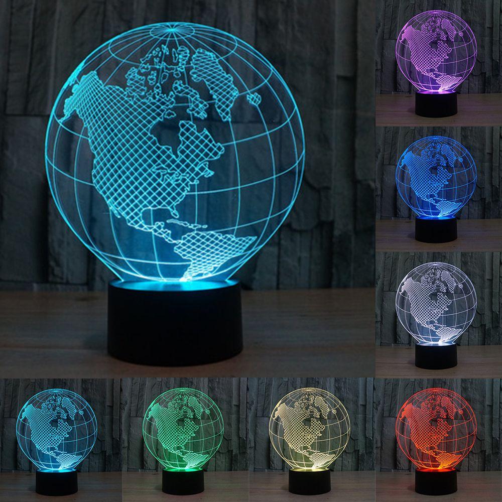 Novedad 7 colores cambio creativo 3D mundo Mapas acrílico visual luz LED lámpara decoración Lámparas dormitorio noche luz regalos iy803317